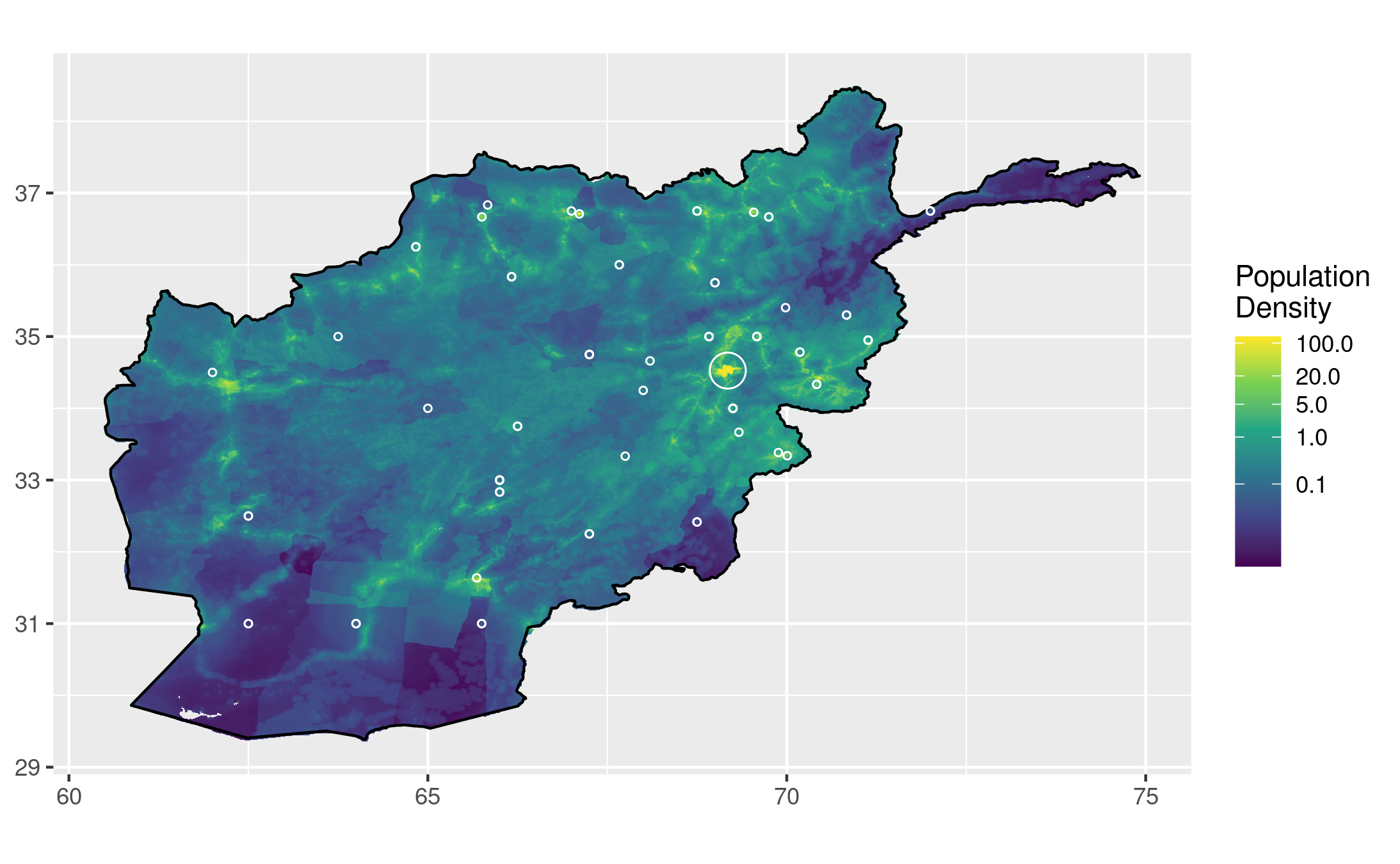 The same population heatmap, with one larger circle around Kabul